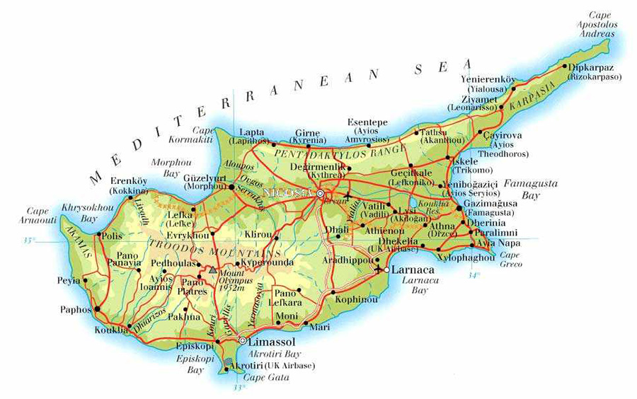 History Of Cyprus Cyprus Transfers Cyprus Taxicyprus Tours - Northern cyprus map